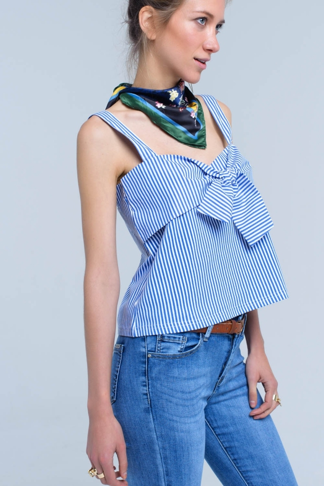 Blue striped top with tie front