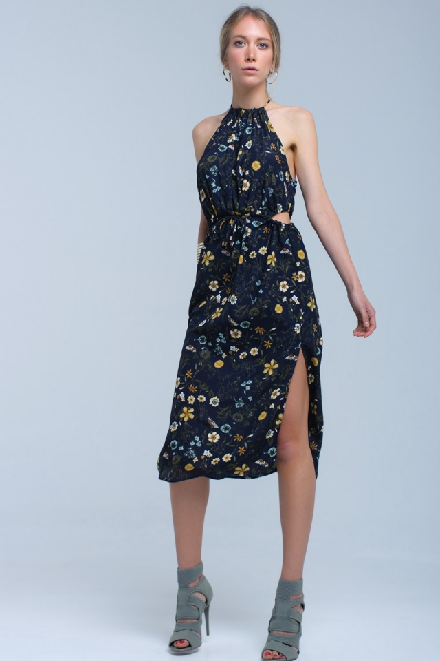 Navy floral high neck cut out midi dress