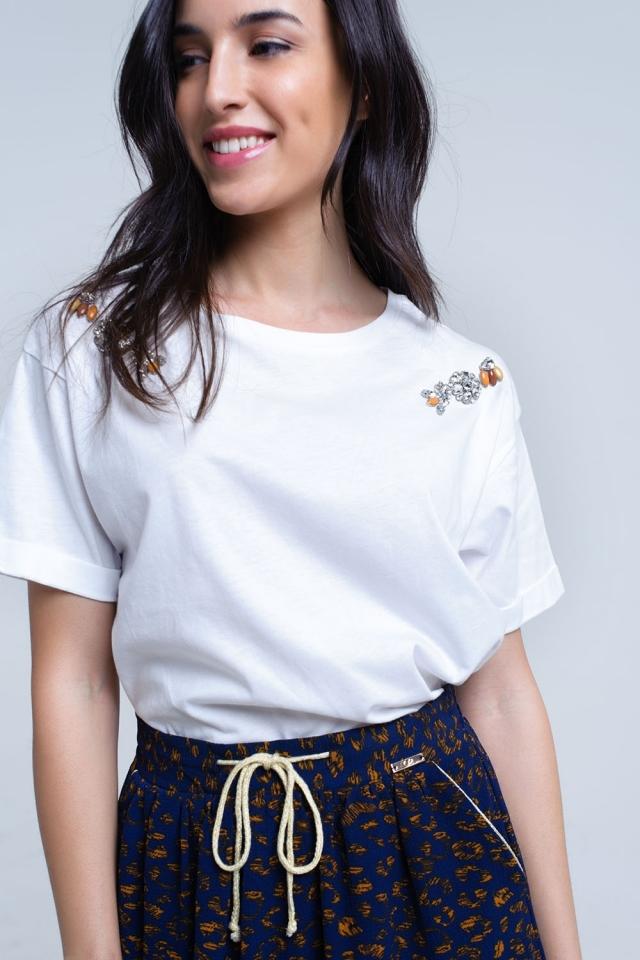 Weißes T-Shirt mit Strasssteinen