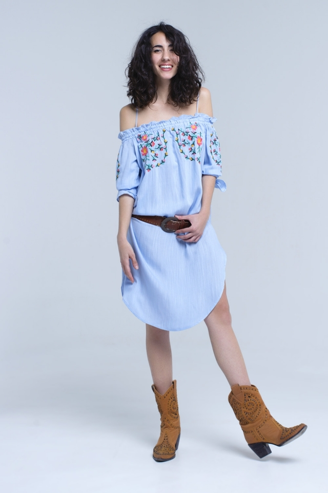 Blue off the shoulder embroidered midi dress