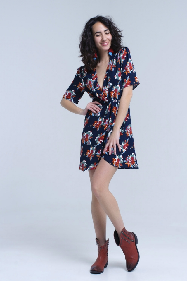 Navy midi dress with ruffle detail in floral print