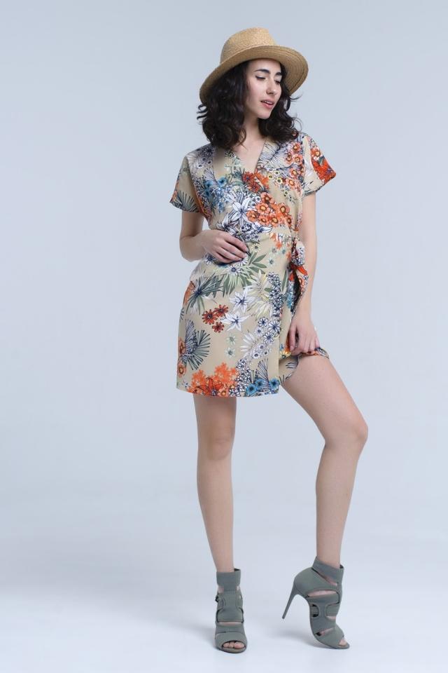 Beige floral wrap dress