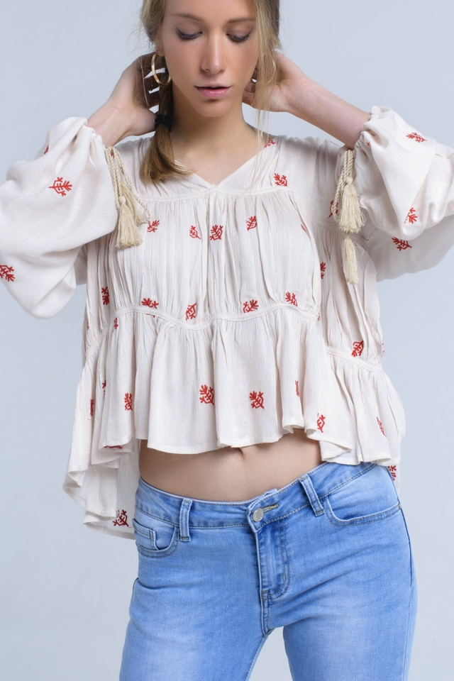 Beige embroidered blouse with wide sleeve