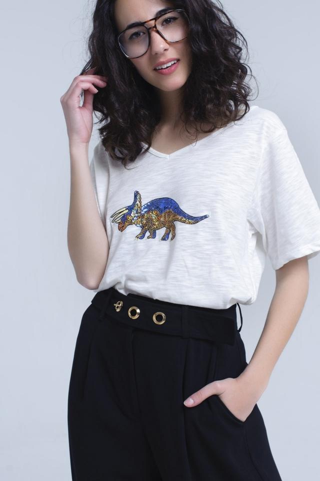 Weißes T-Shirt mit Nashorn in Pailletten