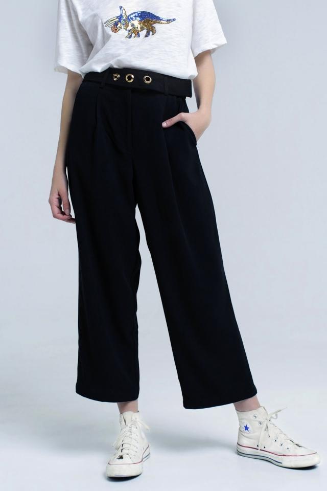 Black ankle pants with belt detail