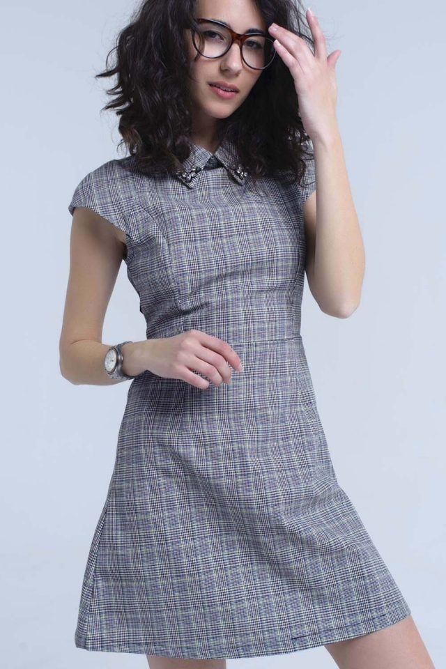 Gray skater dress in Prince of Wales fabric