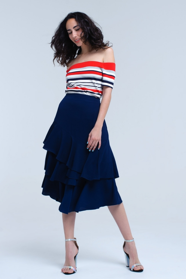 Navy midi skirt with ruffle detail