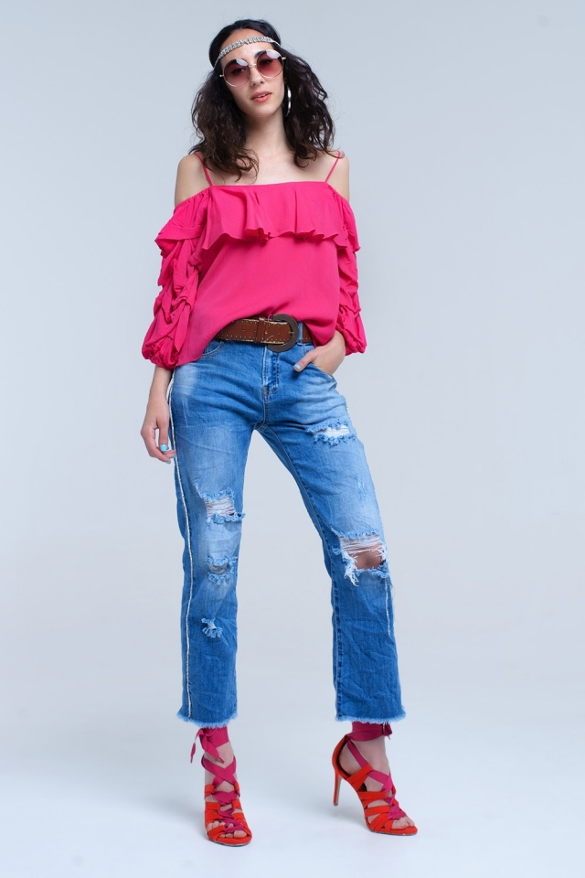Mom jeans with rips and crystal side detail