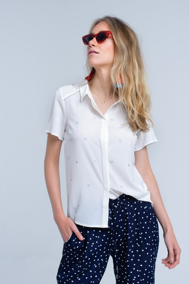 Cream shirt with heart embroidery