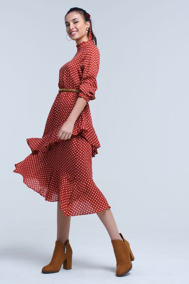 Red midi dress with polka dots and ruffles