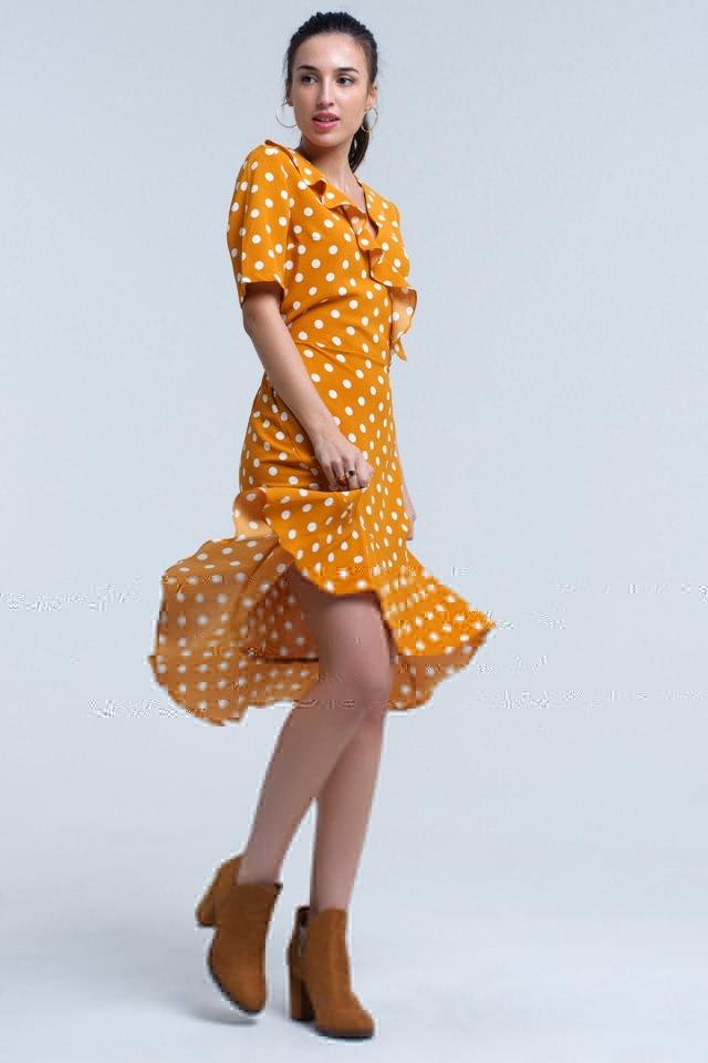 Mustard polka dot asymmetric dress
