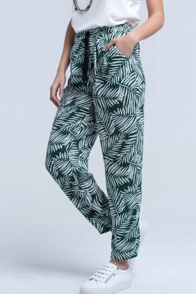 Grüne Hose mit Blattdruck