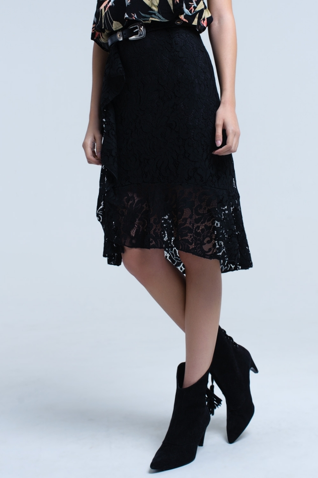 Black lace and ruffle midi skirt