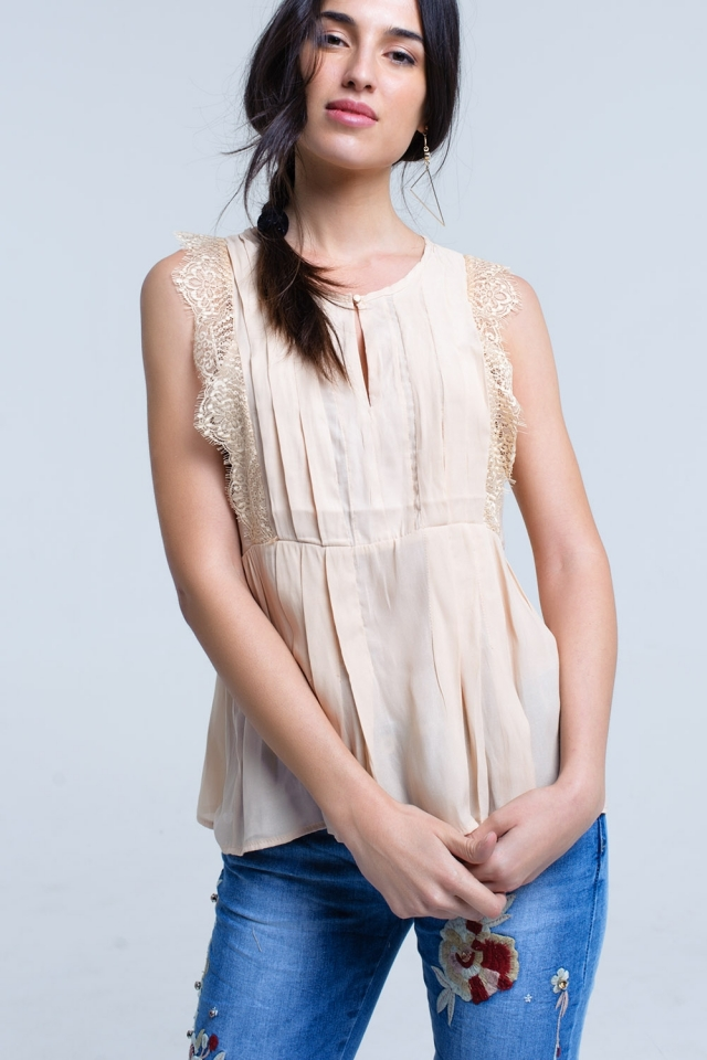 Beige top with lace detail