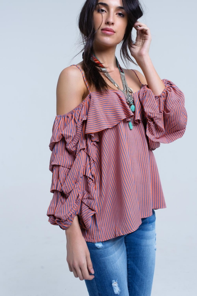 Coral stripe off the shoulder top with ruffle sleeve