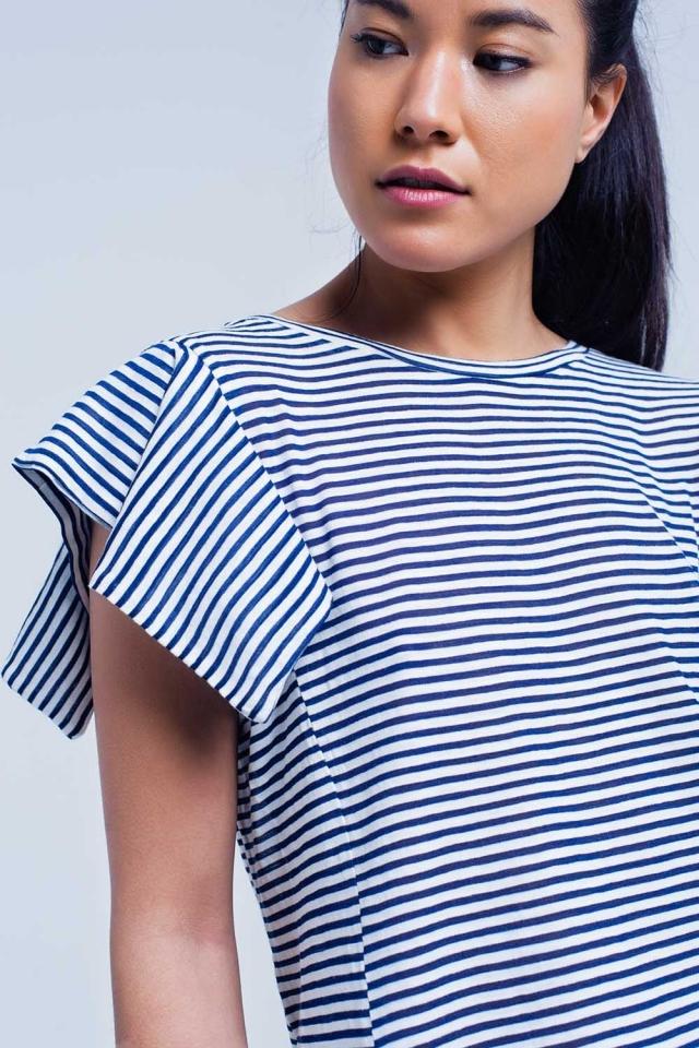 Navy-Streifen Kurzarm-T-Shirt
