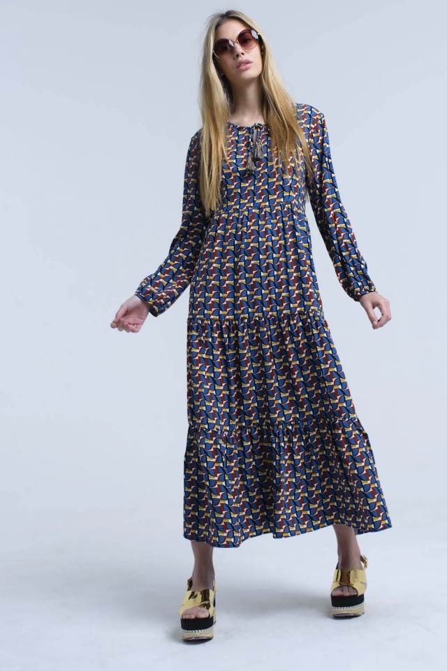 Blue maxi dress in multi geo print