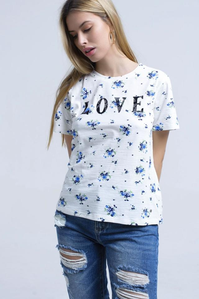 T-Shirt mit Blumendruck und Logo