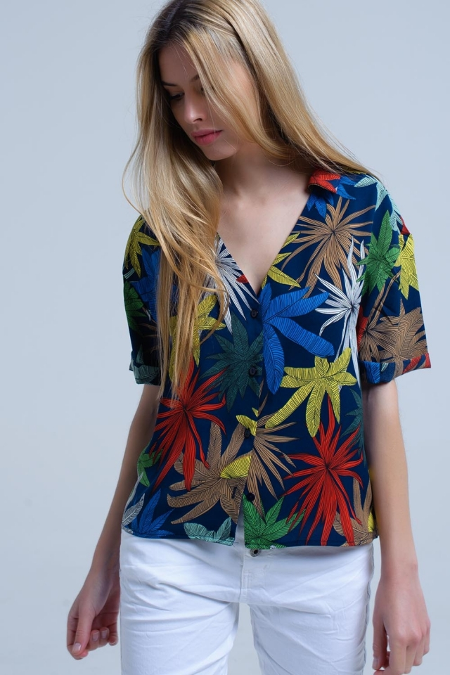 Navy shirt with leaves print