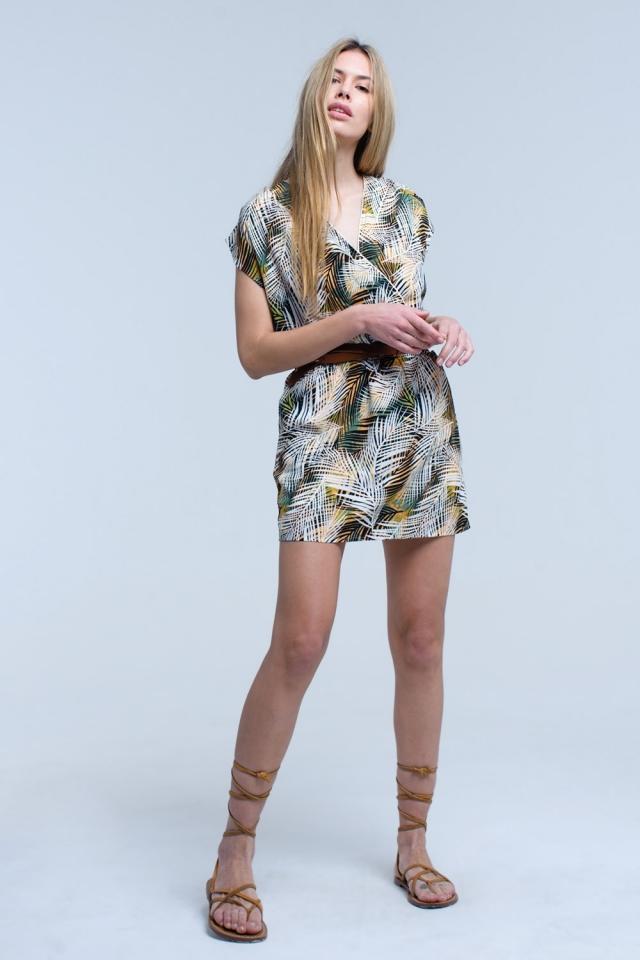 Printed sheet dress with elastic waist