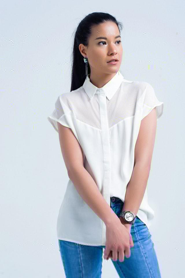 White shirt with mesh detail