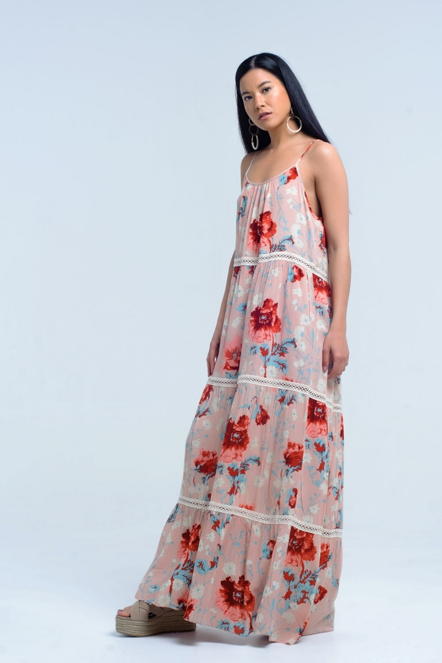 Maxi pink dress with floral print and lace
