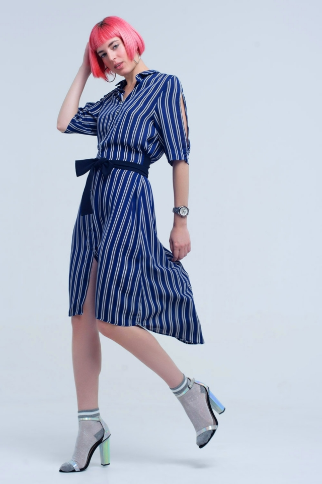 Navy midi stripped dress