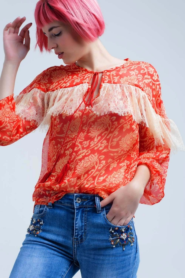 Transparent chiffon coral shirt with lace
