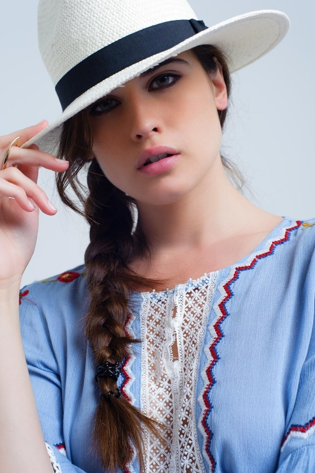 Blue top with flower and lace embroidery
