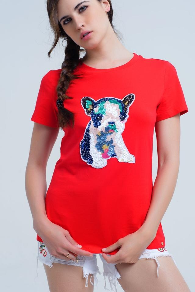 Rotes T-Shirt mit Paillettenhund