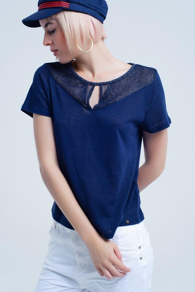 Hemd bleu marine avec maille