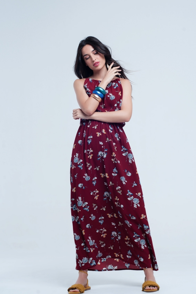 Red dress with printed flowers and elastic waist