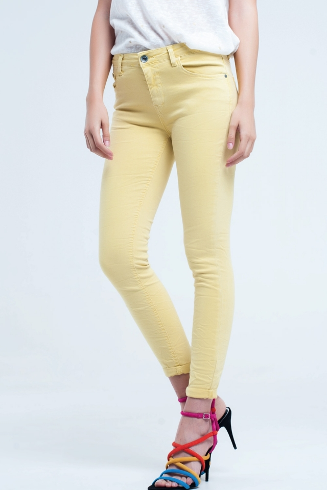 Yellow jean ankle with soft wrinkles