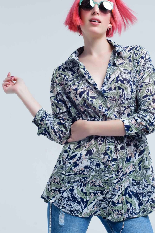 Blue shirt with leaf and flower print