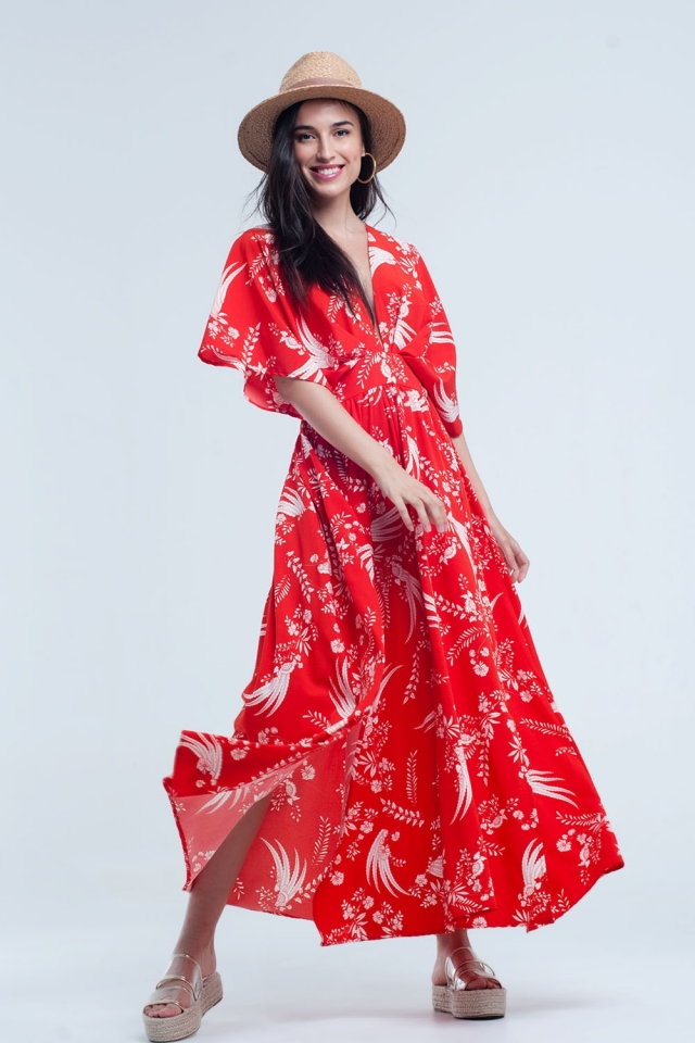 Red long dress with printed flowers