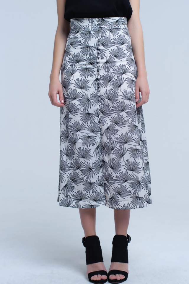 Midi white skirt with button detail and leaf print
