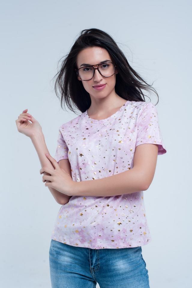 Rose T-Shirt verblasster Effekt mit goldenen Sternen