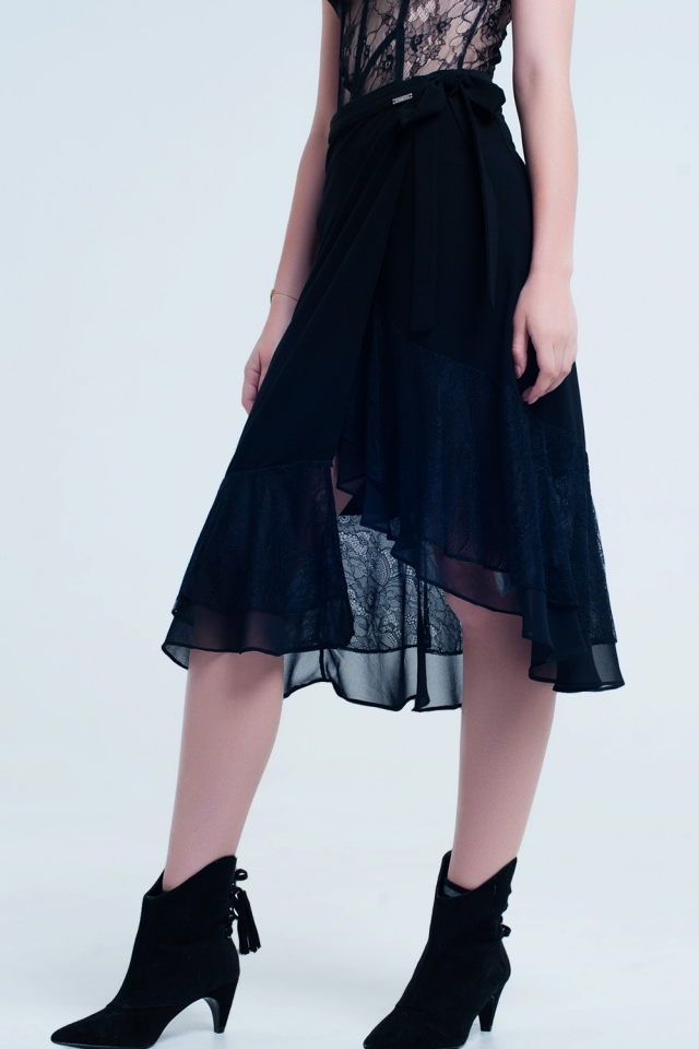 Black skirt with lace and ruffles