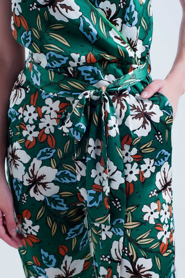 Grünen Overall mit Blumenmuster