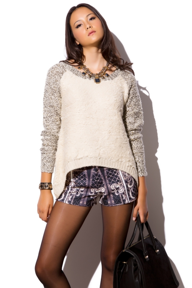 Cream knit jumper with contrast sleeves