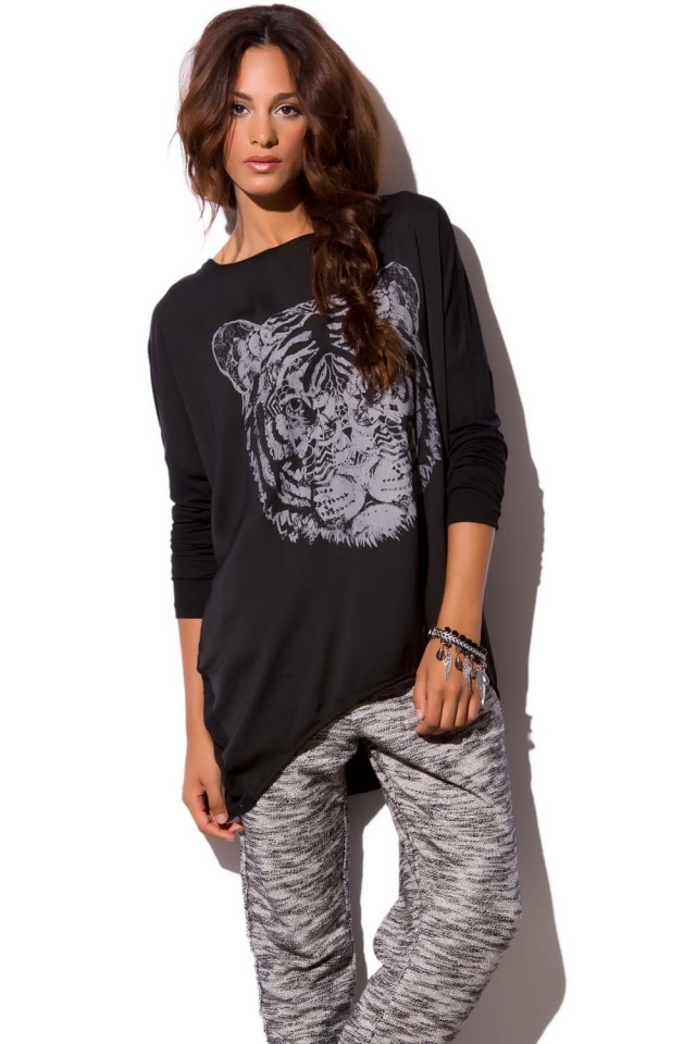 Black tunic top in tiger print