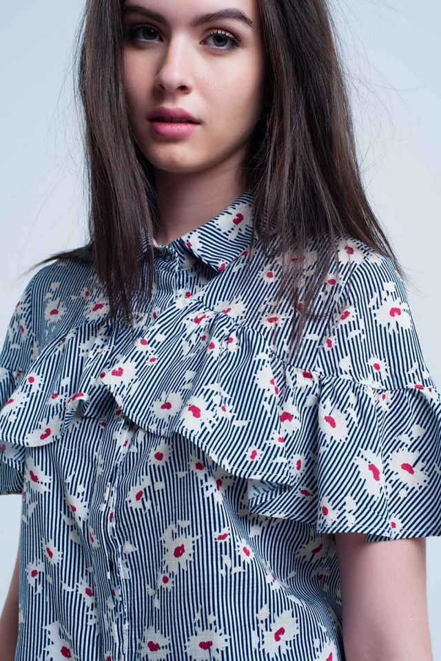Blue shirt with floral pattern and stripes