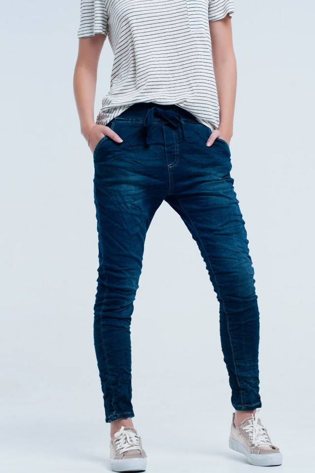 Boyfriend blue jeans with elastic waist