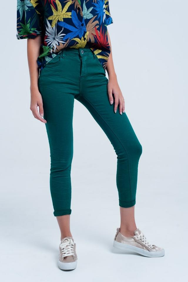 Skinny green elastic jeans