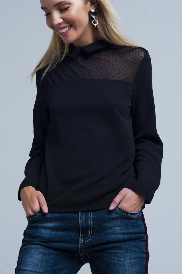 Schwarzes Hemd mit transparentem Tupfen-Detail