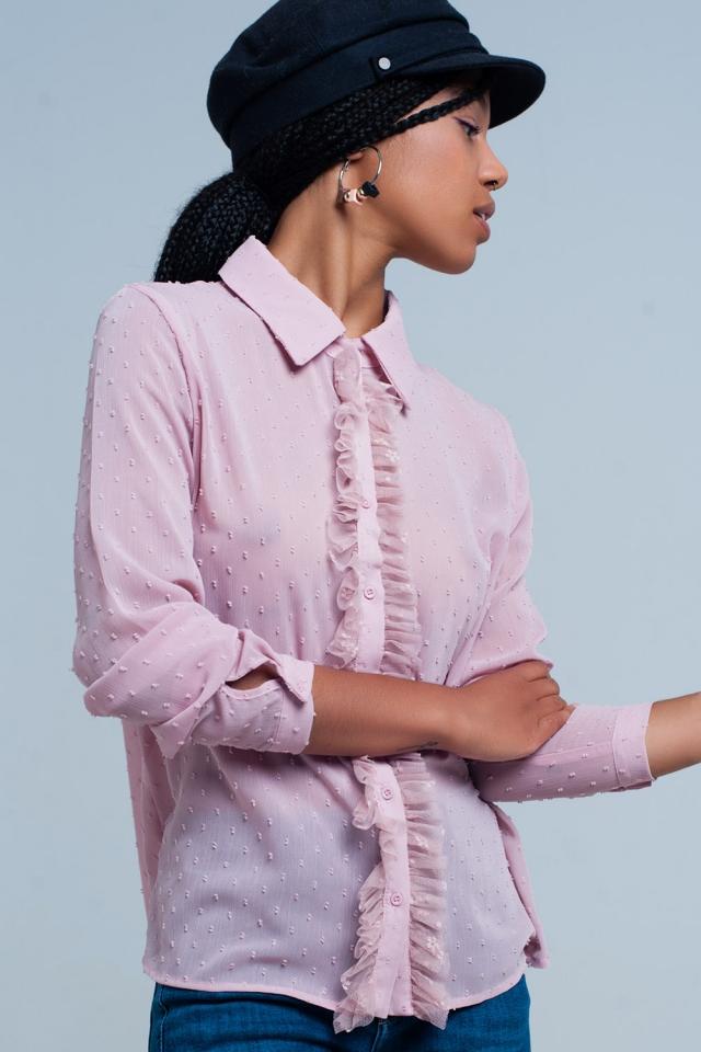 Pink chiffon blouse with ruffles