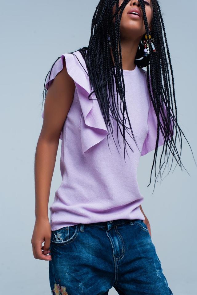 lila Pullover mit Rüschen-Details