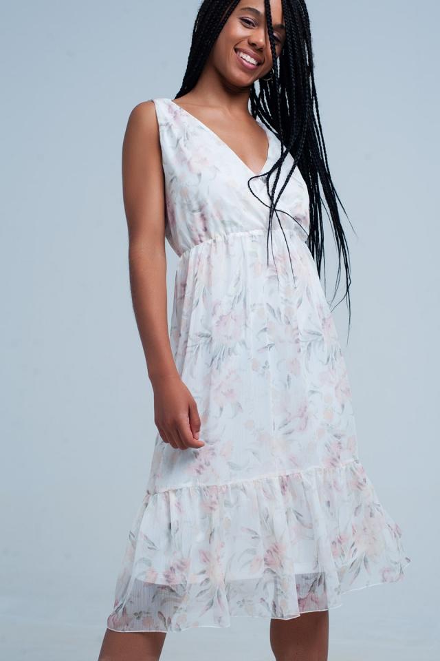 Chiffon Floral Midi-Kleid mit v-Ausschnitt