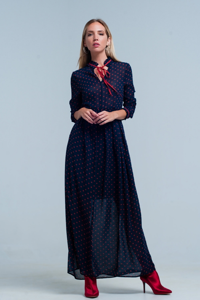 Marine Chiffon Polka-Dot-Kleid