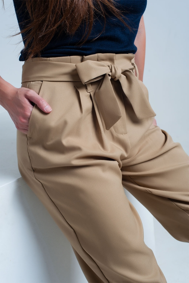 Beige formal pants with a belt